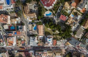 An aerial photograph of Peguera, Spain.
