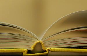 A hardcover book with yellow covers lays open with roughly half the pages on either side.