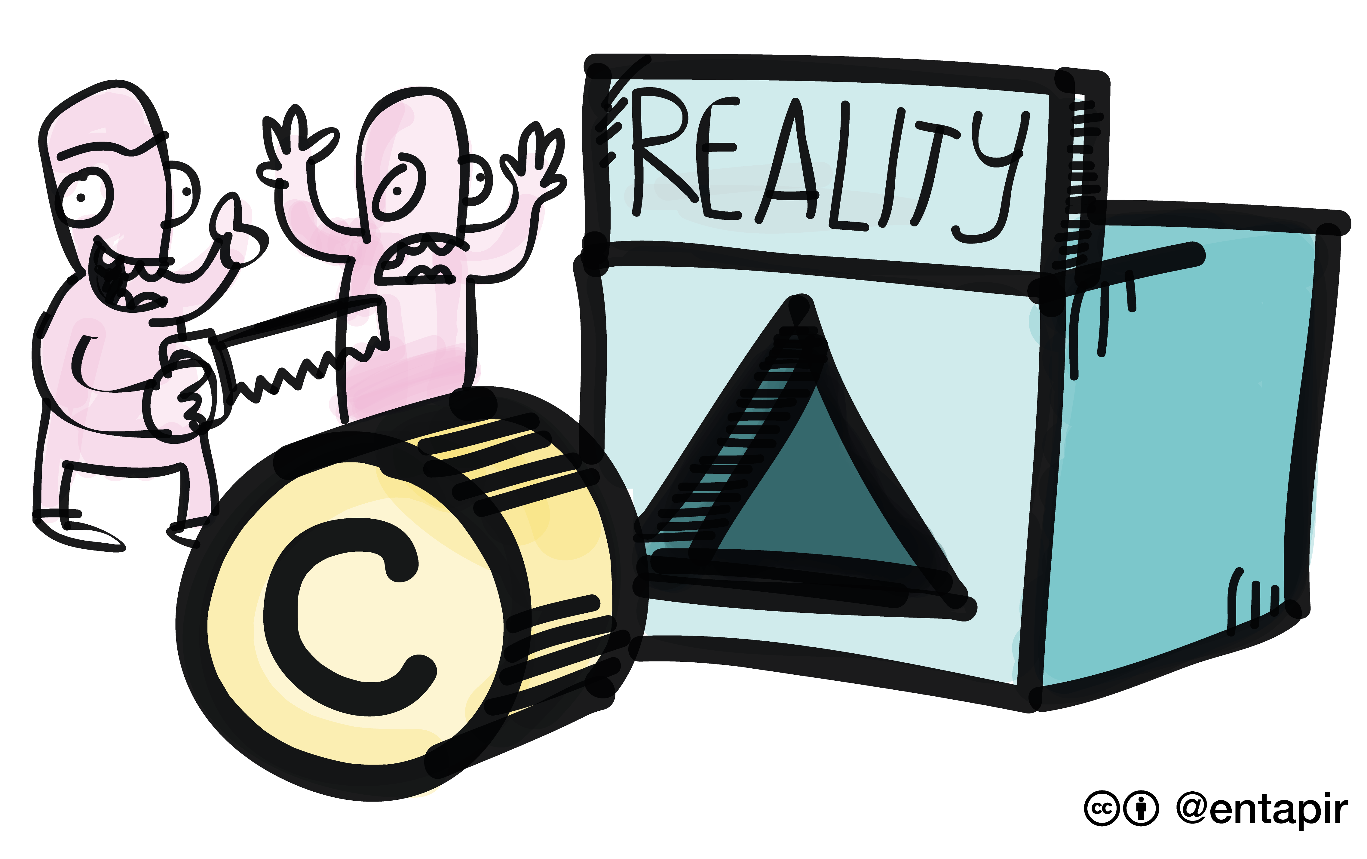 A hand drawn cartoon image featuring a box with a triangular hole in it and a label that reads 'reality'. In front of the box is a cylinder with a copyright logo on it. To the left is two characters looking at the copyright cylinder and the triangular hole that represents the reality of dealing with copyright. One has their hands thrown up in the air in exclamation while the other holds a saw with the intention of changing the shape of the copyright cylinder to better fit the triangular hole in the reality box.