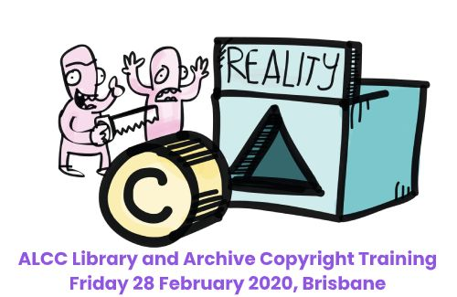 A hand drawn cartoon image featuring a box with a triangular hole in it and a label that reads 'reality'. In front of the box is a cylinder with a copyright logo on it. To the left is two characters looking at the copyright cylinder and the triangular hole that represents the reality of dealing with copyright. One has their hands thrown up in the air in exclamation while the other holds a saw with the intention of changing the shape of the copyright cylinder to better fit the triangular hole in the reality box. Below is text reading: